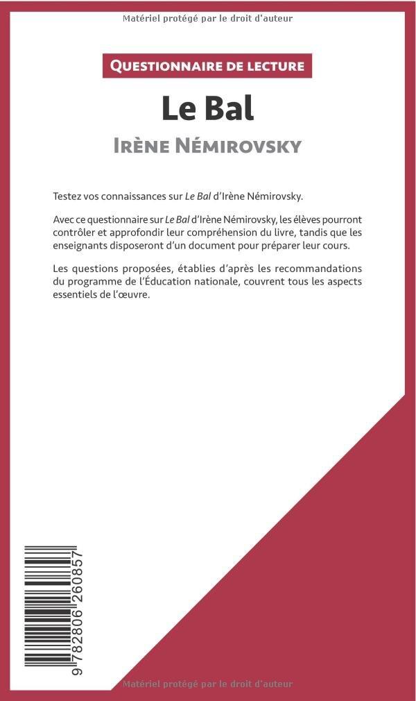 le bal irene nemirovsky questionnaire
