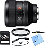 Sony FE 85mm F1.4 GM Lens, Filter, and Card Bundle - Includes Lens, 77mm UV, Polarizer, FLD Deluxe Filter Kit, 32GB SDHC Memory Card, Lens Cap Keeper, and LCD/Lens Cleaning Pen and Microfiber Cloth
