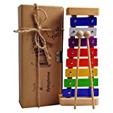 HappyFishes Xylophone with Bright Multi-Colored Keys, Child-Safe Wooden Mallets and Music Cards for Kids