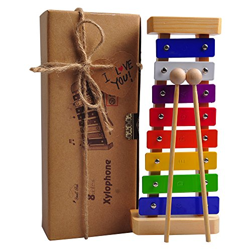 HappyFishes Xylophone With Wooden Mallets & Music Cards