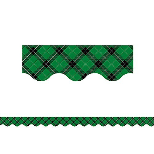 Teacher Created Resources Green Plaid Scalloped Border Trim -
