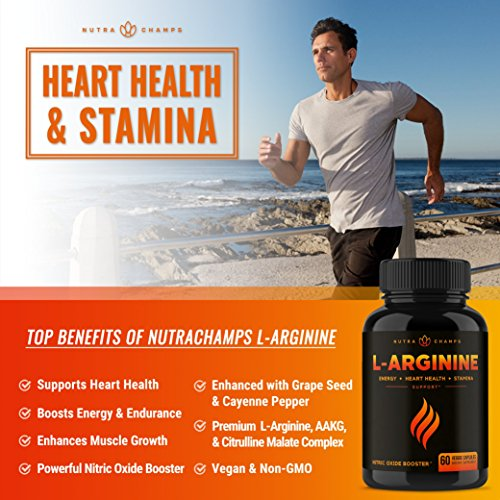Premium L Arginine 1500mg Nitric Oxide Supplement - Extra Strength for Energy, Muscle Growth, Heart Health, Vascularity & Stamina - Powerful NO Booster Capsules with L-Arginine & L-Citrulline Powder by NutraChamps (Image #2)