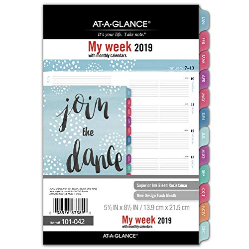 (AT-A-GLANCE 2019 Weekly & Monthly Planner Refill, 5-1/2