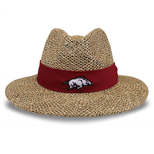 The Game NCAA Arkansas Razorbacks Straw Safari Hat, One Size, Black
