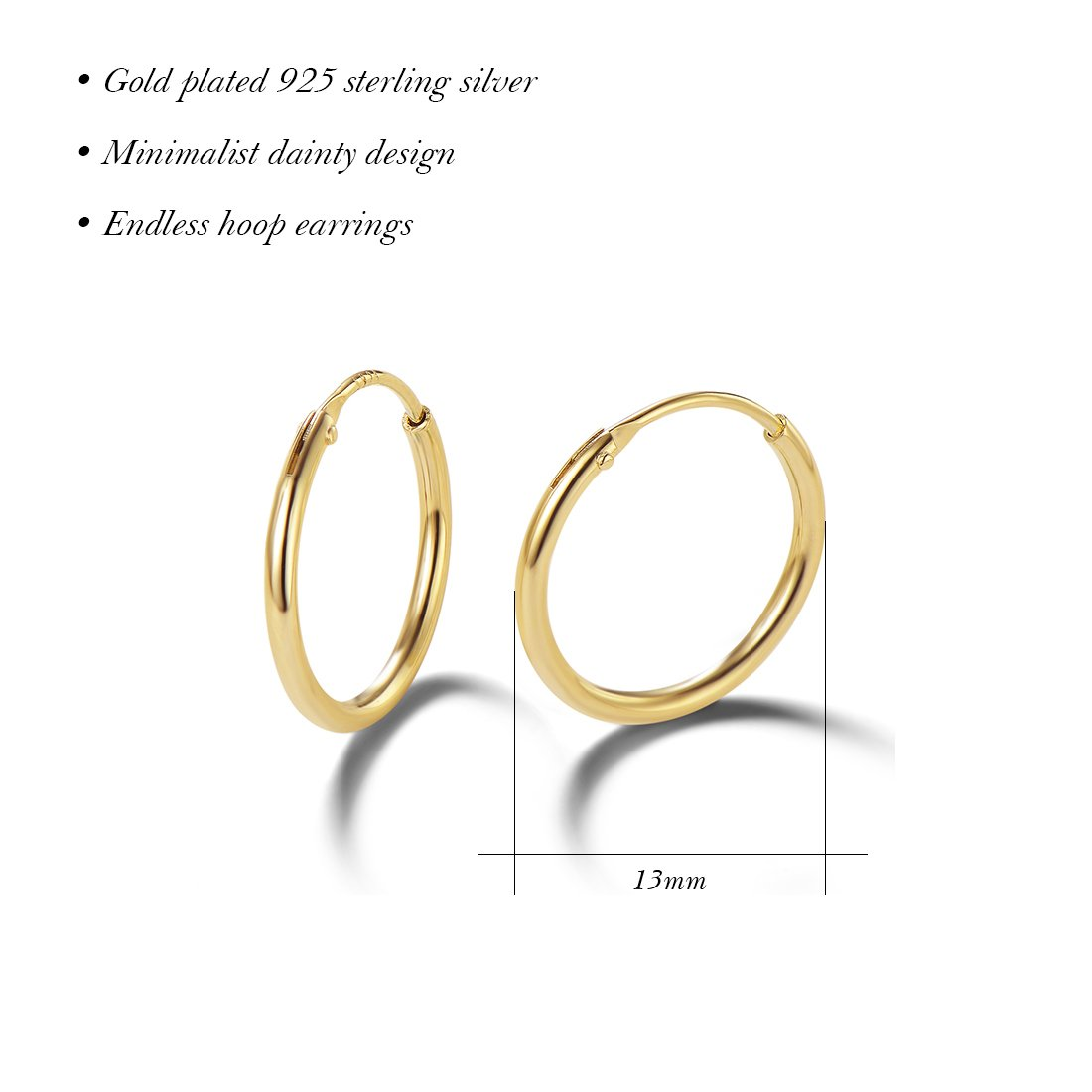 Carleen 14K Yellow Gold Plated 925 Sterling Silver Dainty Endless Hoop Earrings for Women Girls (13mm) by Carleen (Image #3)
