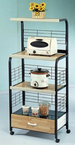 Beau Microwave Stand With Outlet In Black