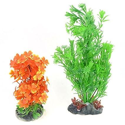 eDealMax Plástico del tanque de pescados de agua Hierba decoración 28cm 10cm Alto Verde Naranja 2