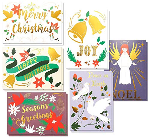 48-Pack Merry Christmas Greeting Cards Bulk Box Set - Winter Holiday Xmas Greeting Cards in 6 Fancy Designs with Gold Foil Accents, Envelopes Included, 4 x 6 Inches