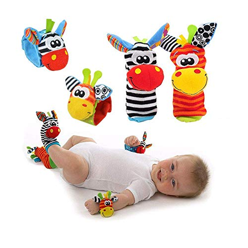 (YOLO Baby Wrist Rattle and Foot Rattles, Animal Toys Finder Socks Development Toy for Newborn Baby Set of 4 pcs (Zebra))