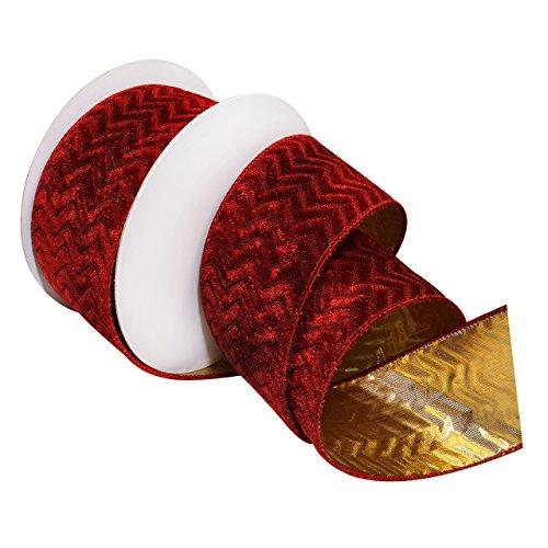 Morex Ribbon 7611.60/10-018 French Wired Metallics Gilded Velvet Ribbon, 2-1/2