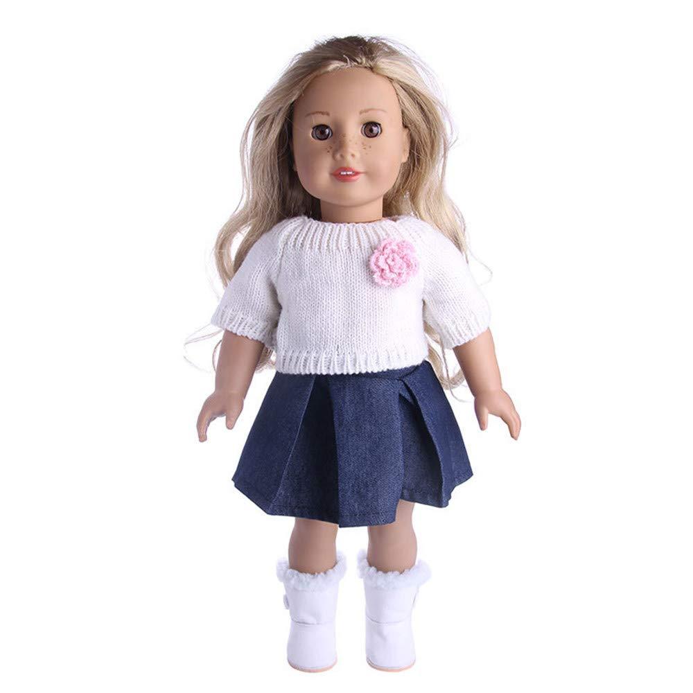 callm 18インチ人形アクセサリー セーター玩具 人形用衣装 ワードローブ 18インチのアメリカンガール人形用 ホワイト B07JGT8BSB  ホワイト