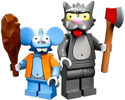 Lego Simpsons Itchy and Scratchy minifigures (loose)