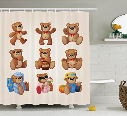 Cartoon Decor Shower Curtain Set By Ambesonne, Set Of Cute Happy Teddy Bears With Funny Different Faces Nostalgic Style Kids Decor, Bathroom Accessories, 69W X 70L Inches, Chocolate Cream
