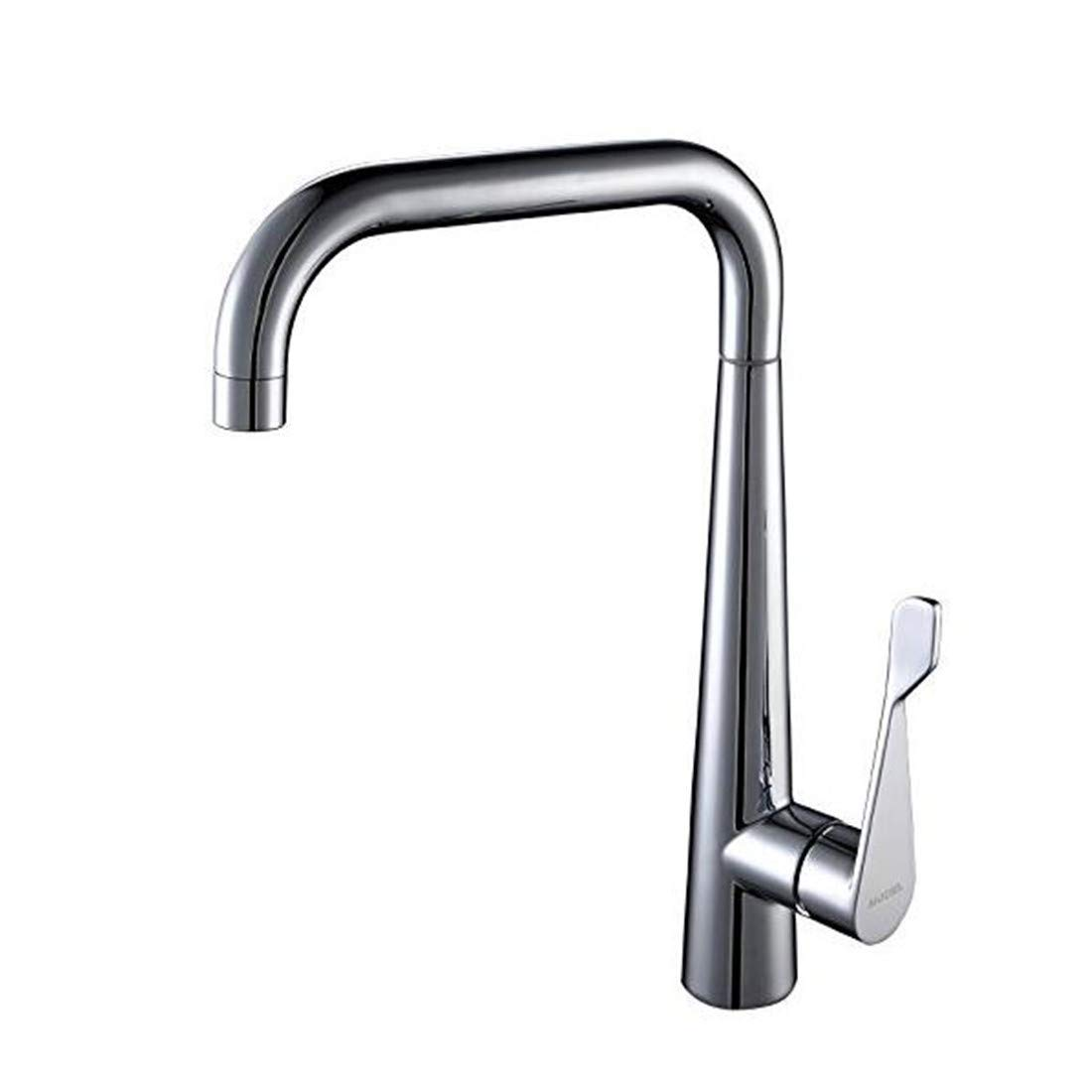 Faucet Modern Plated Mixing Faucet 360 Degree redating Cold and Hot Water Faucet All Copper Kitchen Water Faucet Copper Alloy Single Hole
