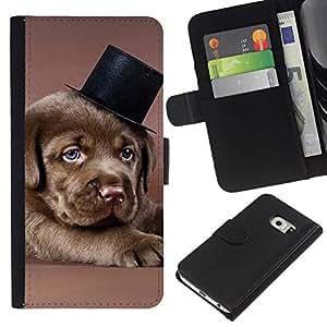 All Phone Most Case / Oferta Especial Cáscara Funda de cuero Monedero Cubierta de proteccion Caso / Wallet Case for Samsung Galaxy S6 EDGE // Chocolate Retriever Puppy Brown Dog Hat