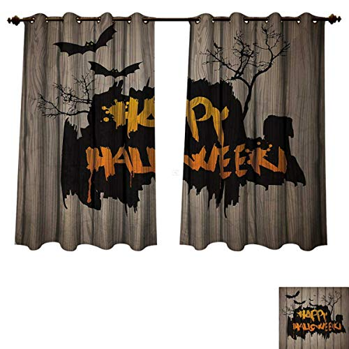 Anzhouqux Halloween Blackout Thermal Backed Curtains for Living Room Happy Graffiti Style Lettering on Rustic Wooden Fence Scary Evil Holiday Artwork Customized Curtains Multicolor W55 x L63 inch for $<!--$47.20-->