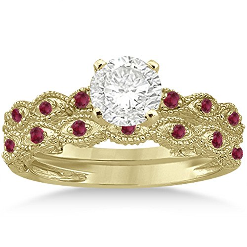 Antique Filigree Marquise Ruby Engagement Ring with Wedding Band Bridal Set 18k Yellow Gold 0.36ct