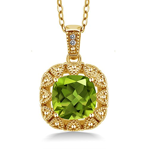 Gem Stone King 2.46 Ct Green Peridot White Diamond 18K Yellow Gold Plated Silver Pendant ()