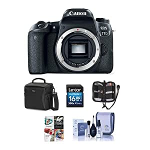 51as259BCLL. SS300  - Canon EOS 77D DSLR Body - Bundle with 16GB SDHC Card, Holster Case, Cleaning Kit, Memory Wallet, Card Reader, Software Package