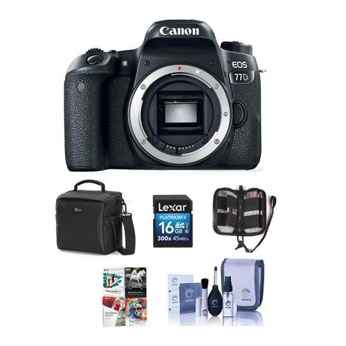 Canon EOS 77D DSLR Body – Bundle with 16GB SDHC Card, Holster Case, Cleaning Kit, Memory Wallet, Card Reader, Software Package