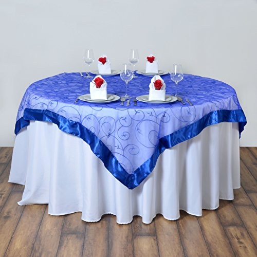 BalsaCircle 60x60-Inch Royal Blue Organza Table Overlays - Wedding Reception Party Catering Table Linens Decorations