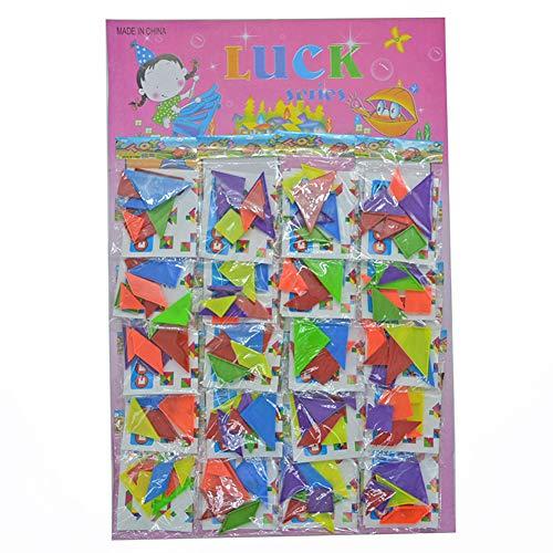Ocamo 20Packs Rainbow Tangram Puzzle Plastic Mini Puzzle Board DIY Puzzle Toy -