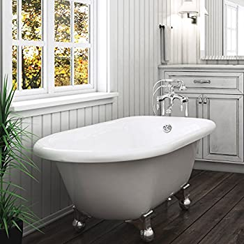 Delightful Luxury 60 Inch Modern Clawfoot Tub In White With Stand Alone Freestanding  Tub Design,