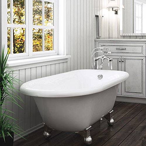 Luxury 60 inch Modern Clawfoot Tub in White with Stand-Alone Freestanding Tub Design, includes Modern Polished Chrome Cannonball Feet and Drain, from The Laughlin Collection by Pelham & White