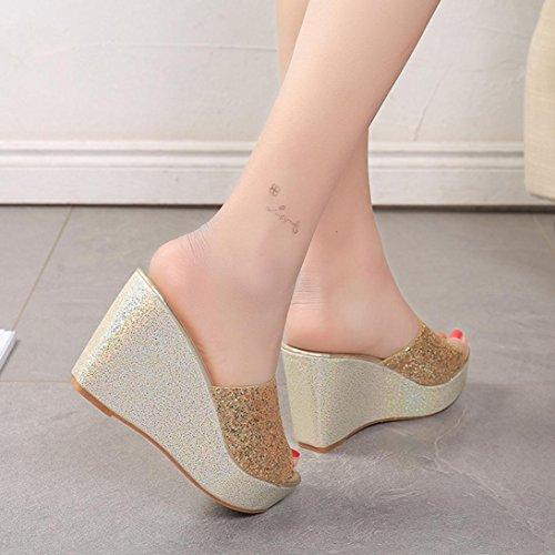Omiky® Frauen Hausschuhe Sexy Open Toe Schuhe Wedge Slip High Heel Hausschuhe Flip Flop Gold
