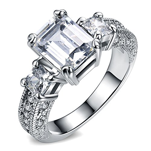 18K White Gold Plated Emerald Cut AAA Cubic Zirconia Solitaire Wedding Bride Eternity Engagement Rings Size (Emerald Cut Ring Sets)