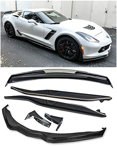 (For 2014-Present Corvette C7 | Z06 Stage 3 CARBON FIBER Front Lip Splitter Side Extension Winglets Side Skirts Rocker Panel & Painted Carbon Flash Rear Wing Light Tinted Wickerbill Spoiler)