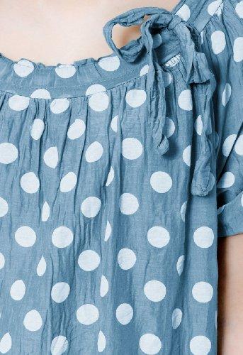 coloris lgre femme Bleu blancs Blouse en plusieurs points CASPAR soie pour avec BLU001 qv57X7