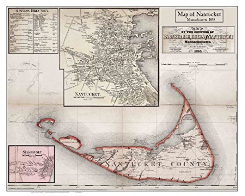Nantucket With Village Insets 1858 Poster map by H.F. - Inset Maps