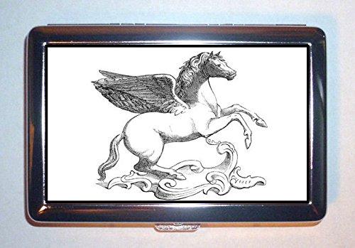 1850sペガサスNice Winged Horse VictorianアートステンレススチールIDまたはCigarettesケース( Kingサイズまたは100 mm )   B00RSN8GYY