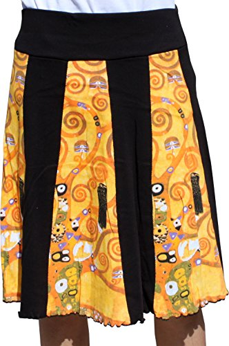Raan Pah Muang RaanPahMuang Gustav Klimt The Tree Of Life Knee Length Panel Skirt, Small ()