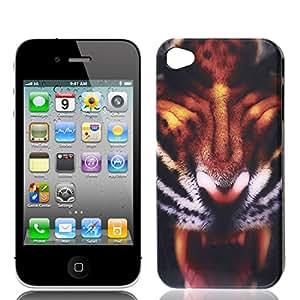 Volver caso del patrón de tigre negro de Brown para el iPhone 4 4G
