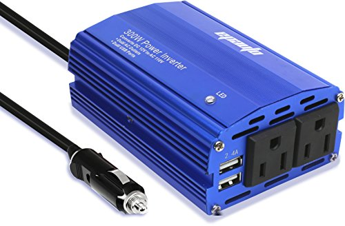 Car Power Converter (EPAuto 300W Car Power Inverter DC 12V to 110V AC Converter with Dual USB)