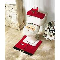 Amberetech Tapa de asiento de inodoro Caja de pañuelos Tapa del tanque y juego de alfombras Decoración de Home Festival, paquete de 3