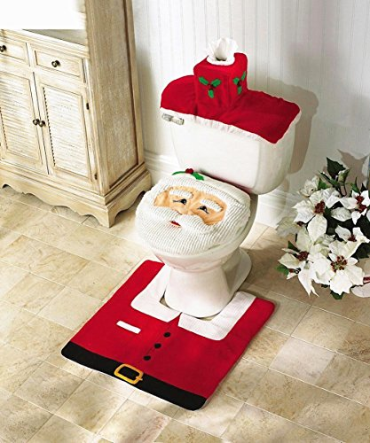 Amberetech Toilet Seat Cover Tissue Box Cover Tank Cover and Rug Set Christmas Home Festival Decoration, Pack of 3