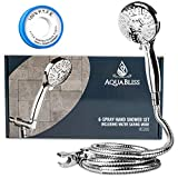AquaBliss High Pressure 6-setting Handheld Shower Head Set w/ Water Saving Mode | Extra Long Ultra-Flexible Stainless Steel Hose | Adjustable Shower Mount | Free Plumber's Tape - Chrome