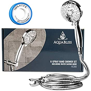 AquaBliss TheraSpa Hand Shower - 6 Mode Massage Shower Head with Hose High Pressure to Gentle Water Saving Mode - 6.5 FT No-Tangle Handheld Shower Head with Extra Long Hose & Adj. Mount | Chrome