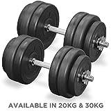 JLL Vinyl Dumbbell Weight Set (Bars + Plates) - 20kg/30kg (30kg (4x 1.25kg + 8x 2.5kg + 2 x 18inch bar))