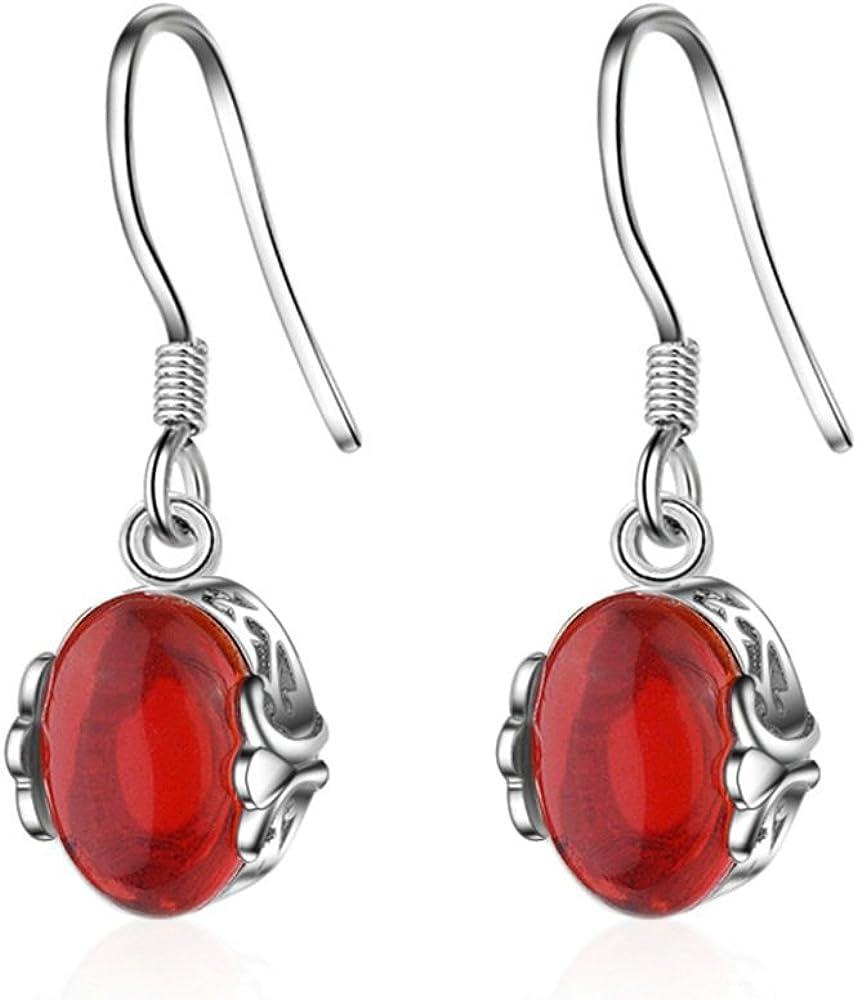 Onefeart Blanco Oro Plateado Pendientes de Fishhook Pendientes para Mujeres Niña Rojo Agate 10x24MM Rojo