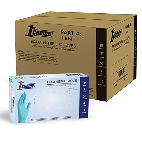 1st Choice Blue Nitrile 3 Mil Thick Disposable Gloves, Case of 1000 - Medical/Exam Grade, Latex-Free by 1st Choice