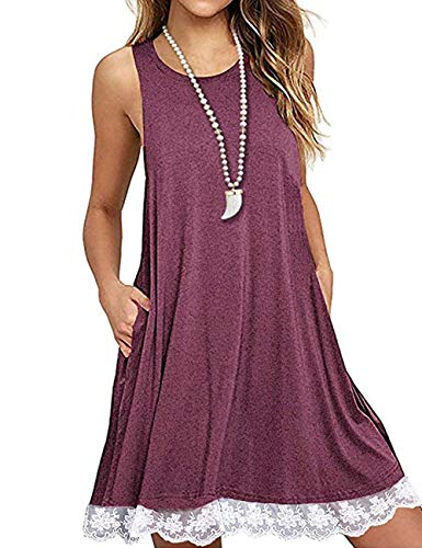 Women's Summer Sleeveless Flowy Dresses Lace Pocket Mini Tshirt Dress Wine Red L