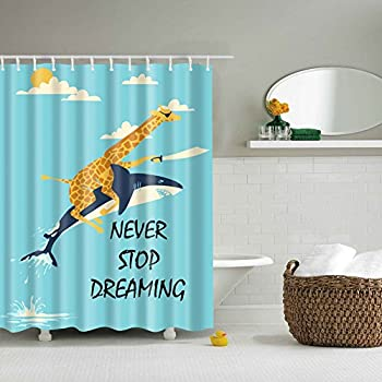 funny shower curtain. Funny Fabric Shower Curtain, Mildew Resistant Water-Repellent \u0026 Anti-bacterial Giraffe Riding Curtain N