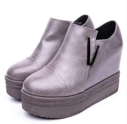 Tacón Del La Agecc Los Zapatos Otoño De Moda Alto Impermeable Gray Bagatela Tabla Aumenta PgU1FRqUB