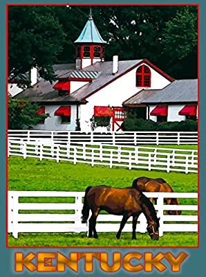 In Old Kentucky Farm Horse Horses United States of America Travel Advertisement Art Poster