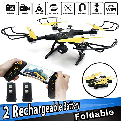 SZJJX RC Drone with 720P HD Camera FPV Live Video Remote Control Quadcopter 2.4GHz RC Helicopter with Altitude Hold Headless Mode 3D Flips One Key Take-Off/Landing Black ()