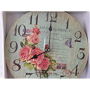 Decorative Wooden Wall Clock 13 Inch Round Shabby Chic French Decor  Sweet Garden